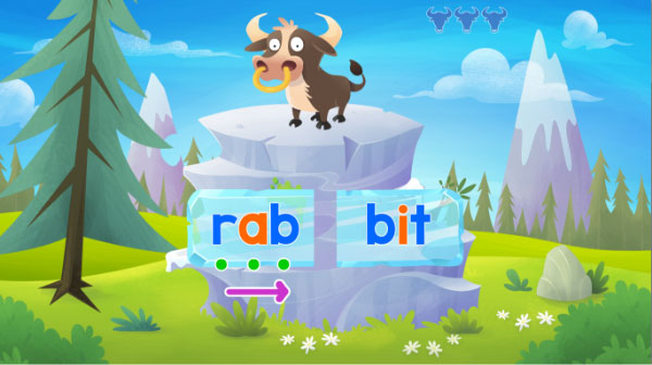 Fast Phonics Silly Bulls teaches syllable manipulation scrren 3