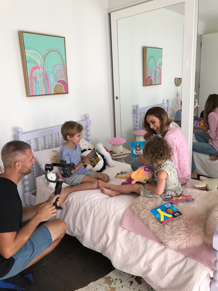 Bec Judd and her children behind the scenes