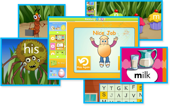Screenshots from the ABC Reading Eggs program