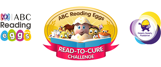 Logos of ABC Reading Eggs, Read-To-Cure and Humpty Dumpty Foundation