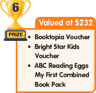 6th Prize - valued at $232 - Booktopia Voucher plus Bright Star Kids Voucher plus ABC Reading Eggs My First Combined Book Pack
